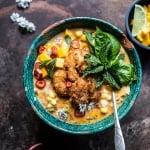 Thai Chile Corn Chowder with Coconut Fried Shrimp.