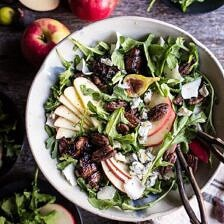 Bacon Wrapped Fig and Honeycrisp Apple Salad with Salted Caramel Pecans.