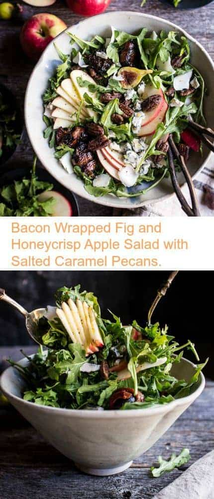 Bacon Wrapped Fig and Honeycrisp Apple Salad with Salted Caramel Pecans | halfbakedharvest.com @hbharvest