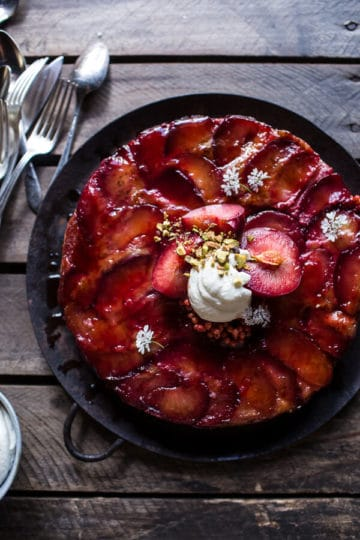 Brown Butter Plum Up-Side Down Yogurt Cake with Pistachios.