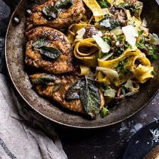 Browned Sage Butter Chicken Piccata with Mushroom Pasta + Video