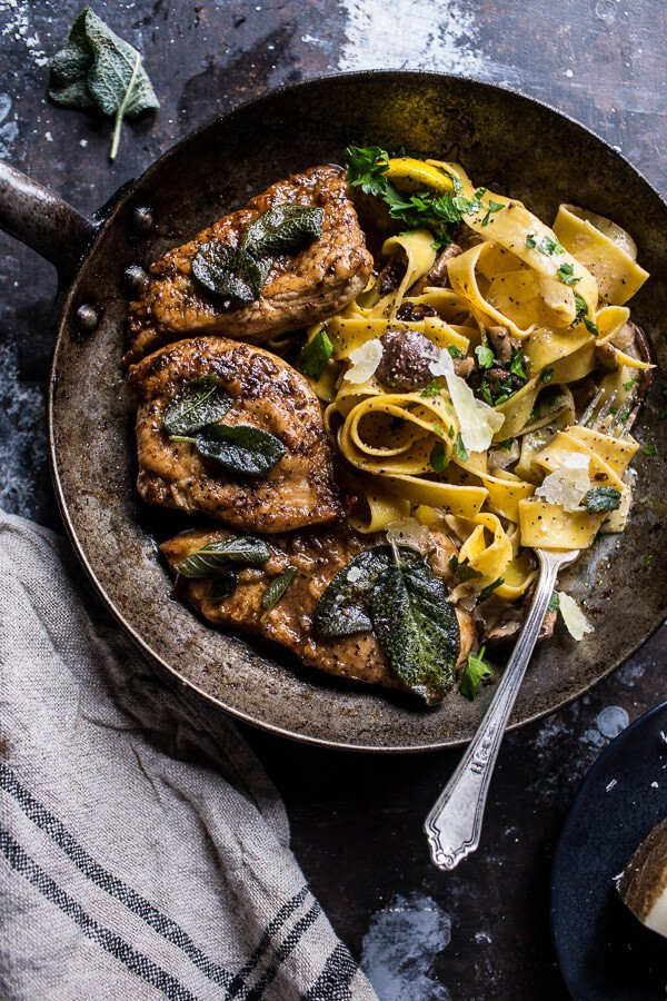 Browned Sage Butter Chicken Piccata with Mushroom Pasta | halfbakedharvest.com @hbharvest