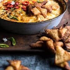 Cheesy Miso Caramelized Corn and Pineapple Chile Dip.