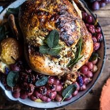 Fall Harvest Cider Roasted Chicken with Walnut Goat Cheese + Grapes.