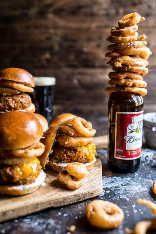 Kickin' Cajun Chicken Sliders with Beer Battered Onion Rings | halfbakedharvest.com @Hbharvest