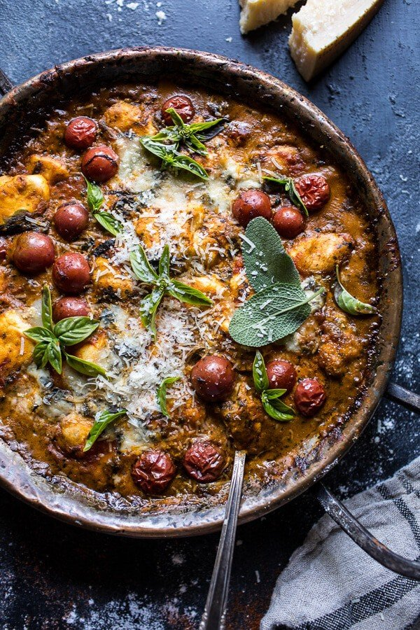 One-Pan Spinach and Cheese Gnocchi with Roasted Garlic Tomato Cream Sauce.