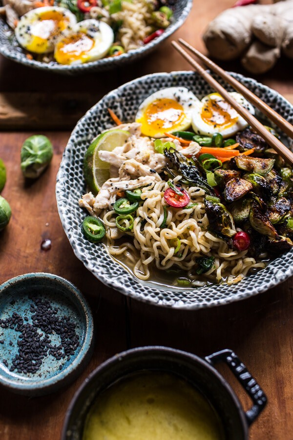 Chicken Ramen with Miso Roasted Brussels Sprouts + Ginger Butter ...