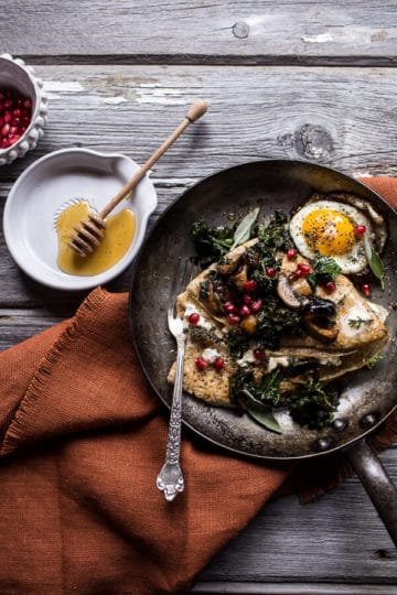Buttered Hazelnut Crepes with Caramelized Wild Mushrooms, Kale and Goat Cheese.