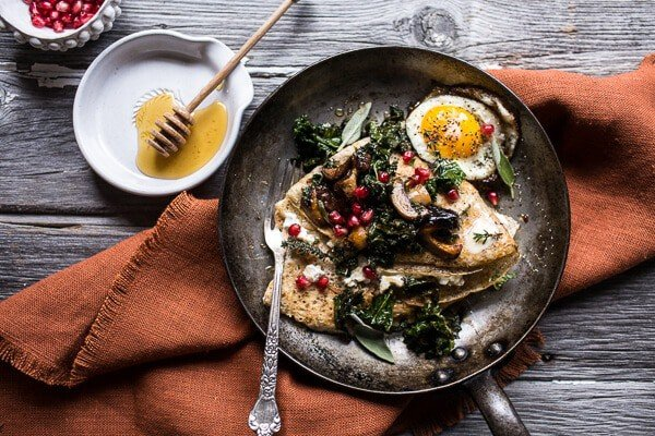 Buttered Hazelnut Crepes with Caramelized Wild Mushrooms, Kale and Goat Cheese | halfbakedharvest.com @hbharvest