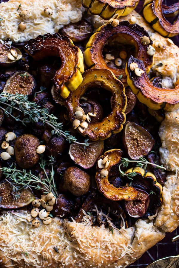 Buttered Mushroom, Fig and Bacon Galette with Roasted Squash | halfbakedharvest.com @hbharvest