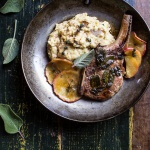 Cider Apple and Sage Roasted Pork Chops with Brown Butter Gorgonzola Polenta.