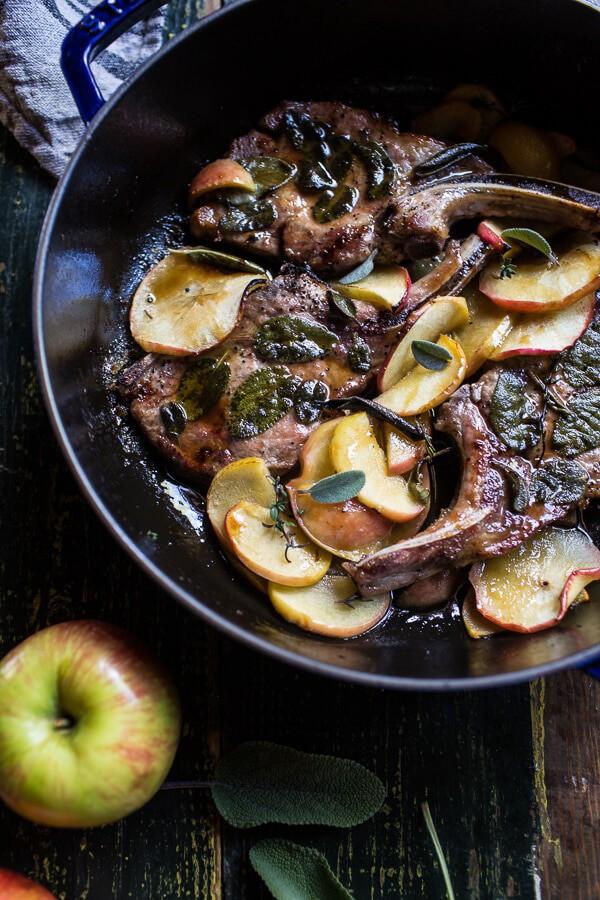 Cider Apple and Sage Roasted Pork Chops with Brown Butter Gorgonzola Polenta | halfbakedharvest.com @hbharvest