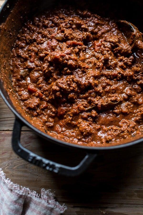 Cincinnati Chili Stuffed Spaghetti Squash | halfbakedharvest.com @hbharvest