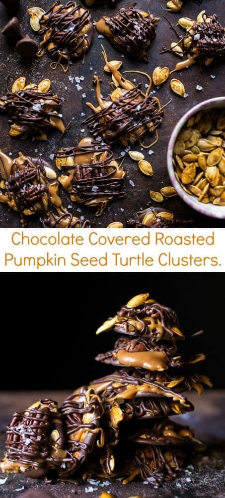 Chocolate Covered Roasted Pumpkin Seed Turtle Clusters | halfbakedharvest.com @hbharvest