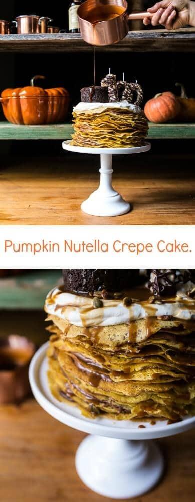 Pumpkin Nutella Crepe Cake | halfbakedharvest.com @hbharvest
