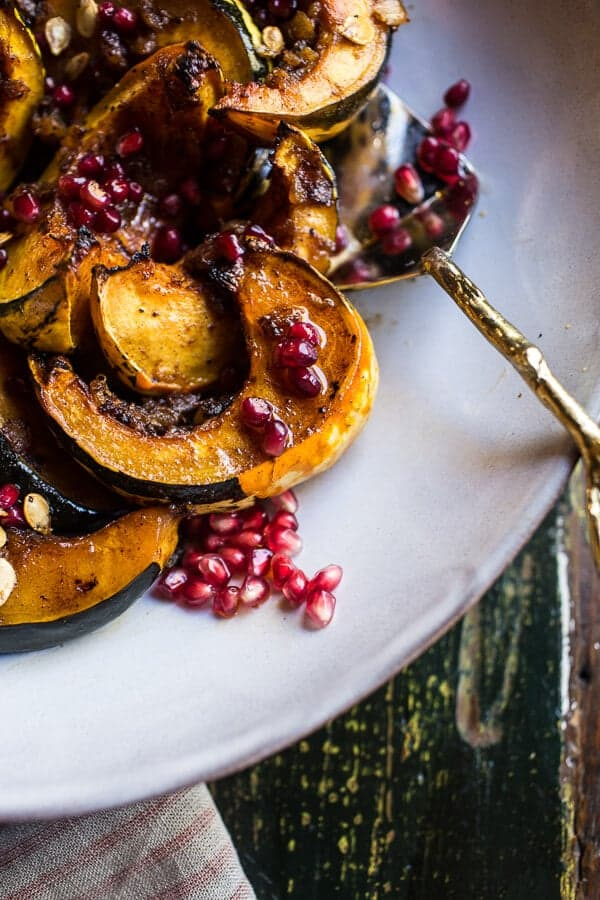 Brown Sugar and Pineapple Roasted Acorn Squash with Spiced Brown Butter.