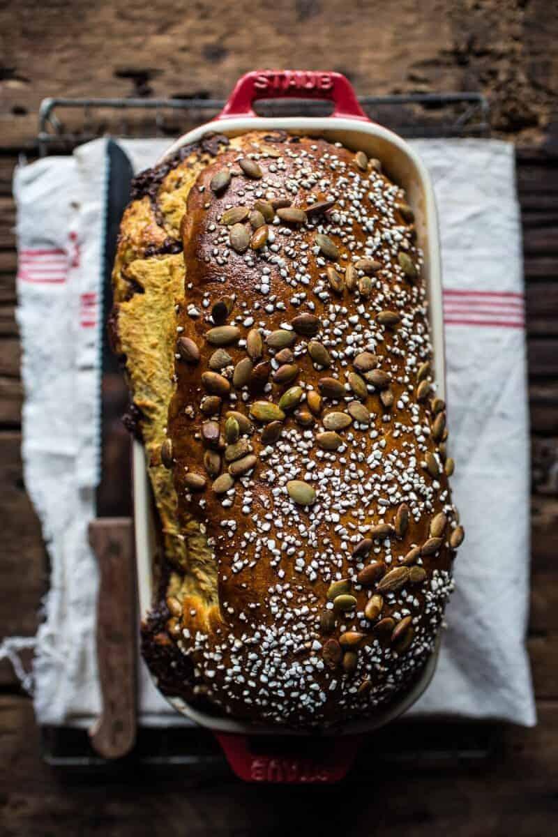 Chocolate Cinnamon Swirl Pumpkin Brioche Bread | halfbakedharvest.com ...