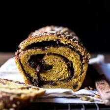 Chocolate Cinnamon Swirl Pumpkin Brioche Bread.