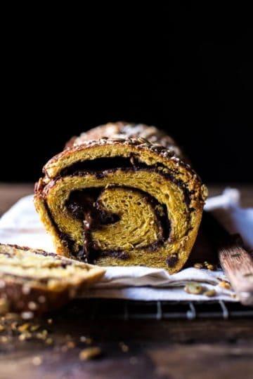 Chocolate Cinnamon Swirl Pumpkin Brioche Bread.
