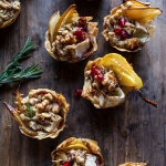 Crispy Prosciutto Baked Brie Bites with Honey Pears + Walnuts.