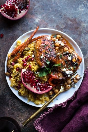 Crockpot Honey Harissa Chicken with Chickpeas, Feta and Jeweled Pomegranate Rice.