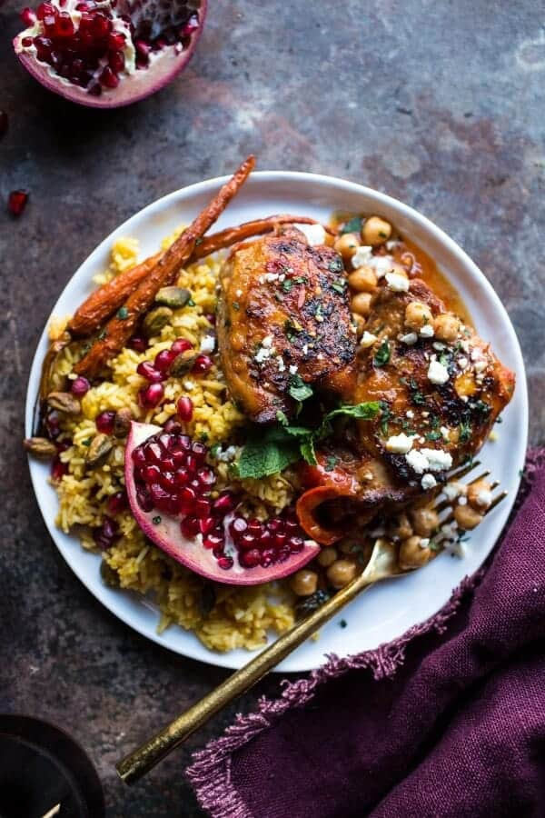 Crockpot Honey Harissa Chicken with Chickpeas, Feta and Jeweled Pomegranate Rice | halfbakedharvest.com @hbharvest