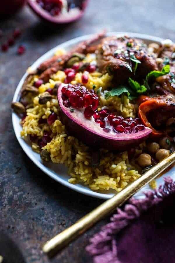 Crockpot Honey Harissa Chicken with Chickpeas, Feta and Jeweled Pomegranate Rice | halfbakedharvest.com @hbharvest