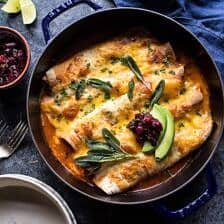 Green Chile Butternut Squash and Turkey Enchiladas with Crispy Sage.