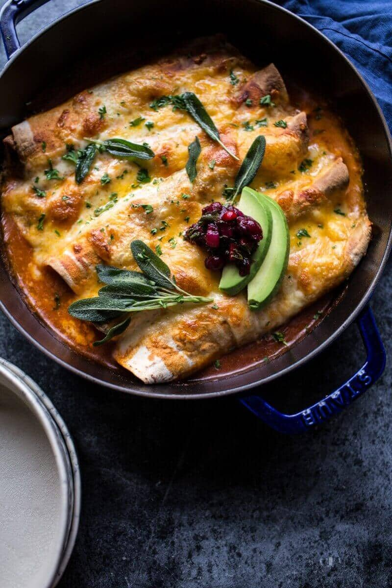 Green Chile Butternut Squash and Turkey Enchiladas with Crispy Sage | halfbakedharvest.com @hbharvest