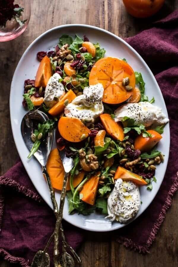 Harvest Cranberry, Persimmon and Burrata Salad   halfbakedharvest.com @hbharvest