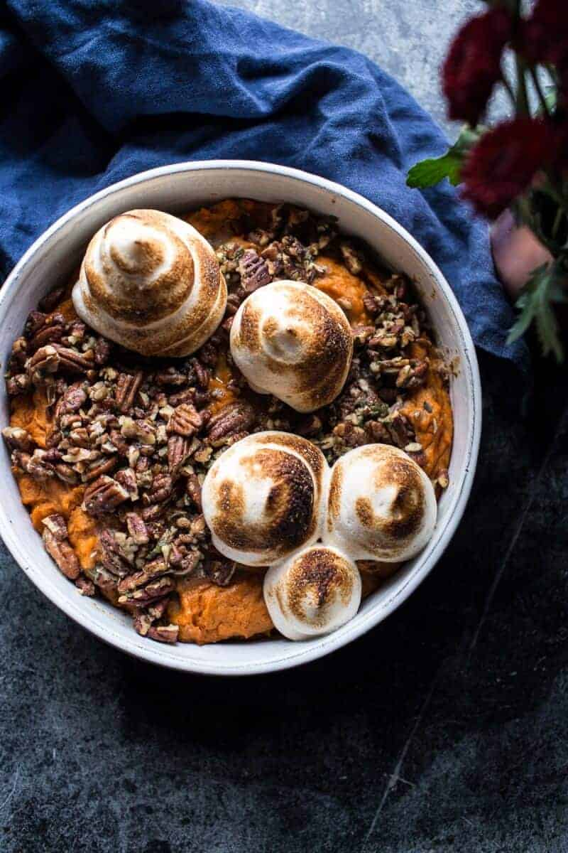 Lighter Sweet Potato Casserole with Maple Toasted Marshmallow | halfbakedharvest.com @hbharvest