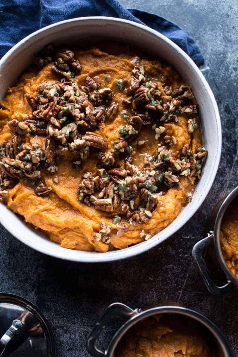 Lighter Sweet Potato Casserole with Maple Toasted Marshmallow | halfbakedharvest.com @hbharvest
