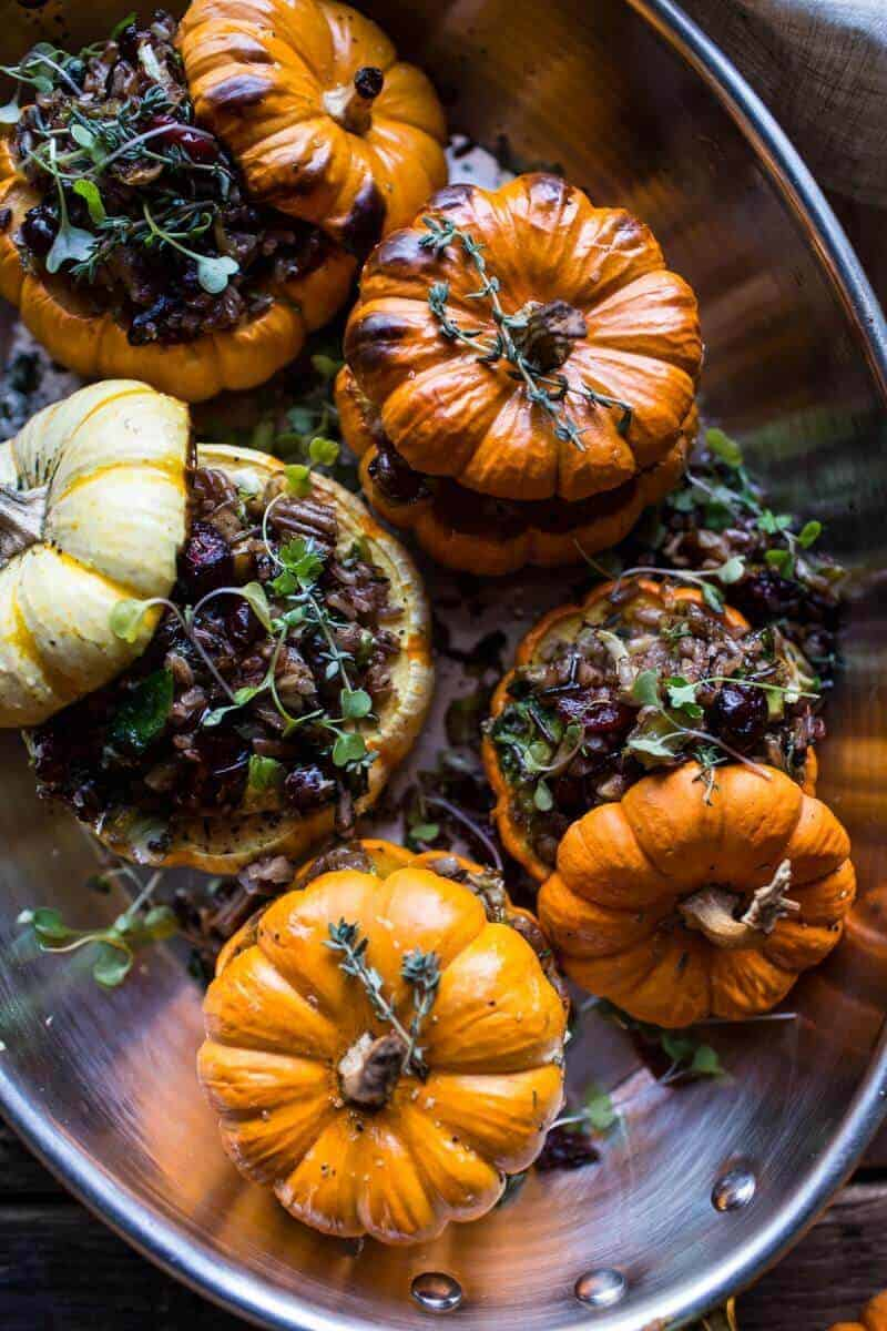 Nutty Wild Rice and Shredded Brussels Sprout Stuffed Mini Pumpkins | halfbakedharvest.com @hbharvest
