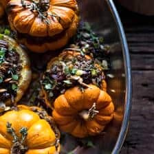 Nutty Wild Rice and Shredded Brussels Sprout Stuffed Mini Pumpkins.