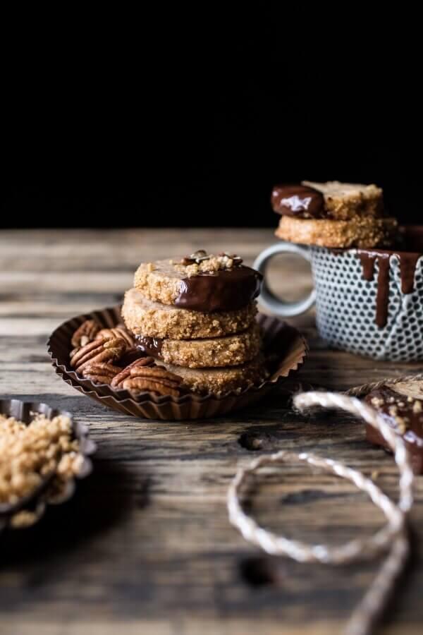 Slice N Bake Vanilla Brown Butter Pecan Cookies…Dipped in Chocolate | halfbakedharvest.com @hbharvest