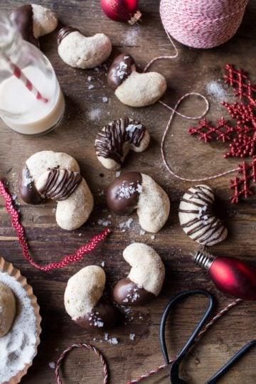 Chocolate Dipped Vanilla Bean Cashew Crescent Cookies.