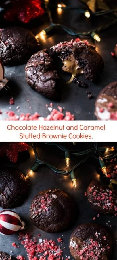 Chocolate Hazelnut and Caramel Stuffed Brownie Cookies | halfbakedharvest.com @hbharvest