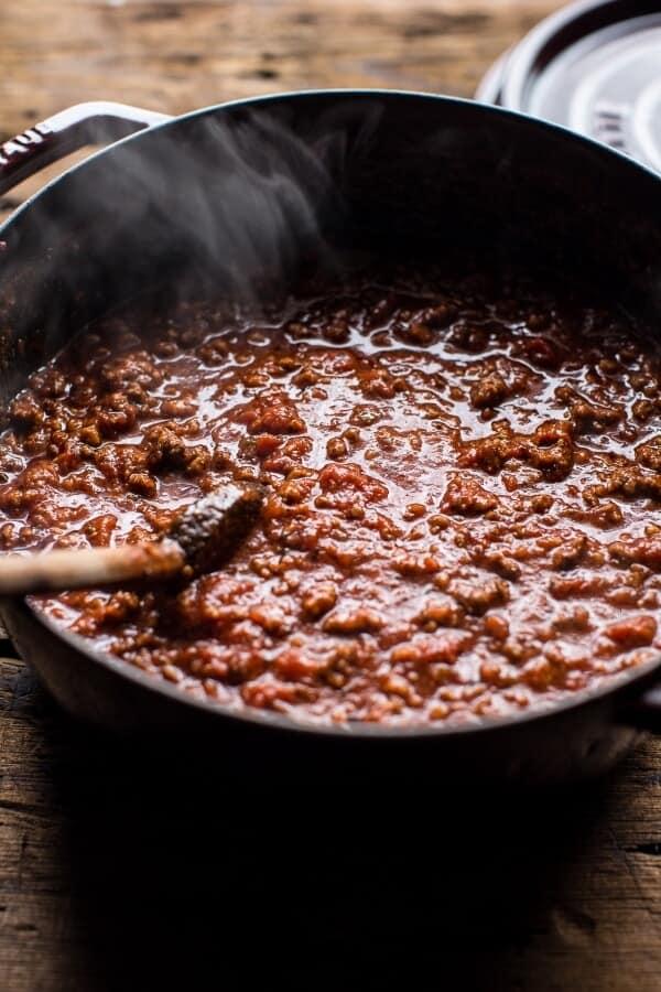 Chorizo Bolognese Pasta with Sourdough Pangrattato + Burrata | halfbakedharvest.com @hbharvest