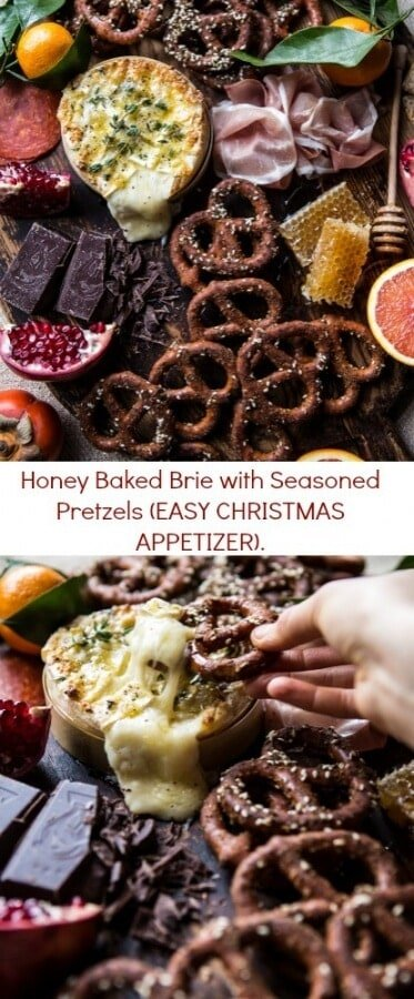 Honey Baked Brie with Seasoned Pretzels (EASY CHRISTMAS APPETIZER) | halfbakedharvest.com @hbharvest