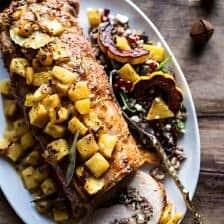 Pineapple Glazed Pork Roast with Bacon Wild Rice Stuffing.