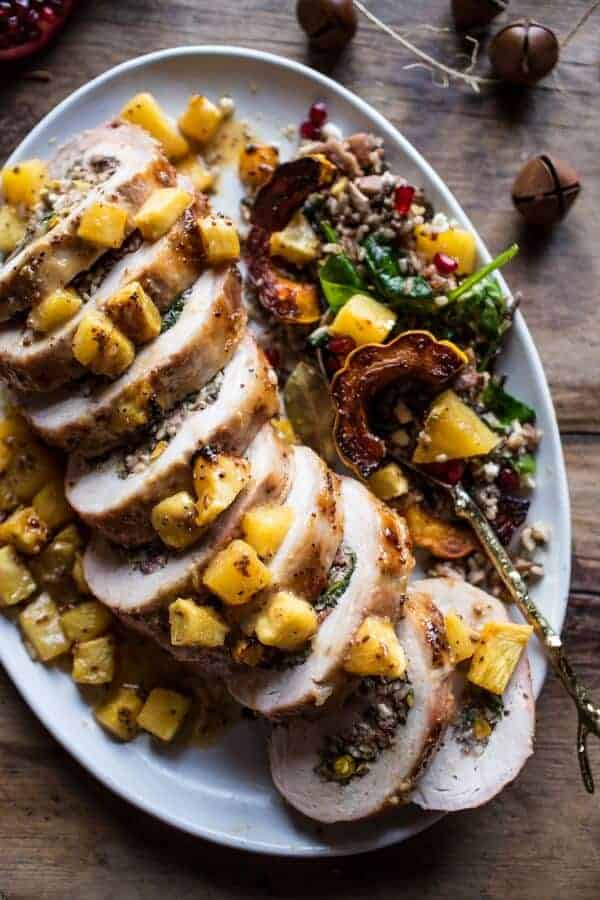 Pineapple Glazed Pork Roast with Bacon Wild Rice Stuffing | halfbakedharvest.com @hbharvest