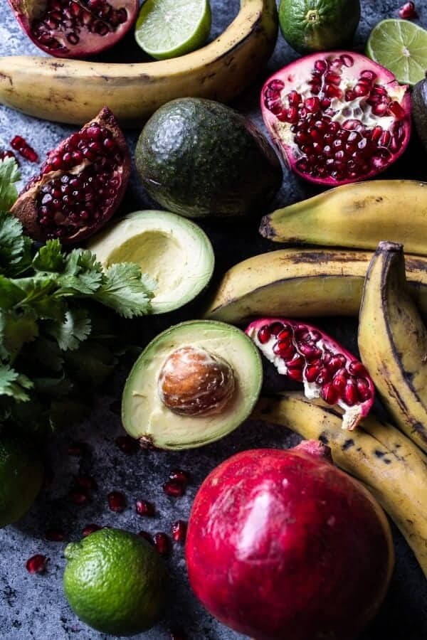 Pomegranate Guacamole with Fried Plantain Chips | halfbakedharvest.com @hbharvest