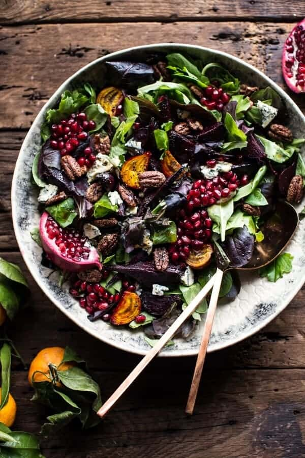 Winter Beet and Pomegranate Salad with Maple Candied Pecans + Balsamic Citrus Dressing | halfbakedharvest.com @hbharvest