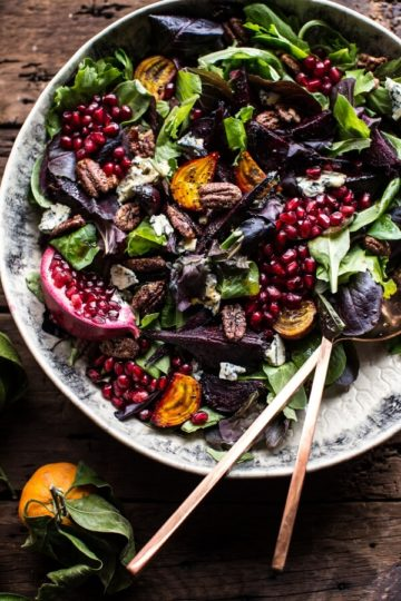 Winter Beet and Pomegranate Salad with Maple Candied Pecans + Balsamic Citrus Dressing.