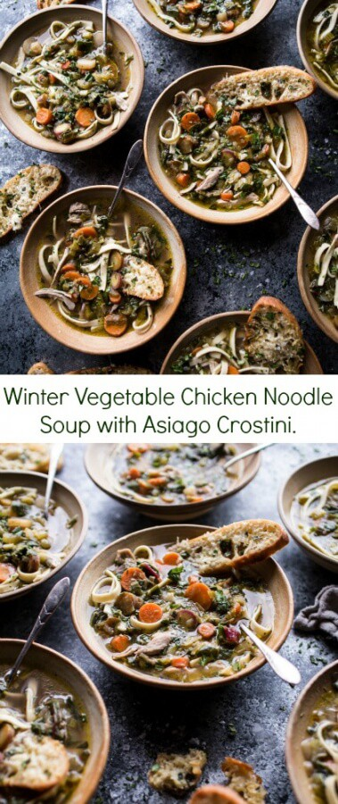 Winter Vegetable Chicken Noodle Soup with Asiago Crostini | halfbakedharvest.com @hbharvest