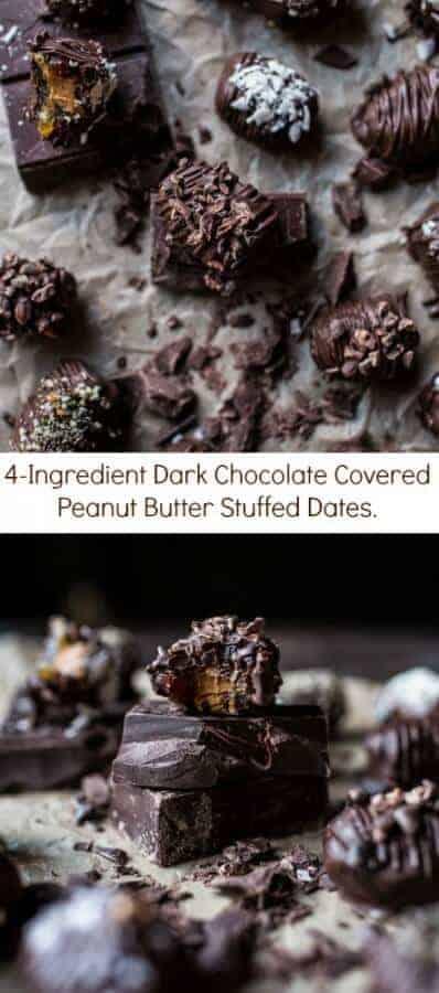 4-Ingredient Dark Chocolate Covered Peanut Butter Stuffed Dates   halfbakedharvest.com @hbharvest