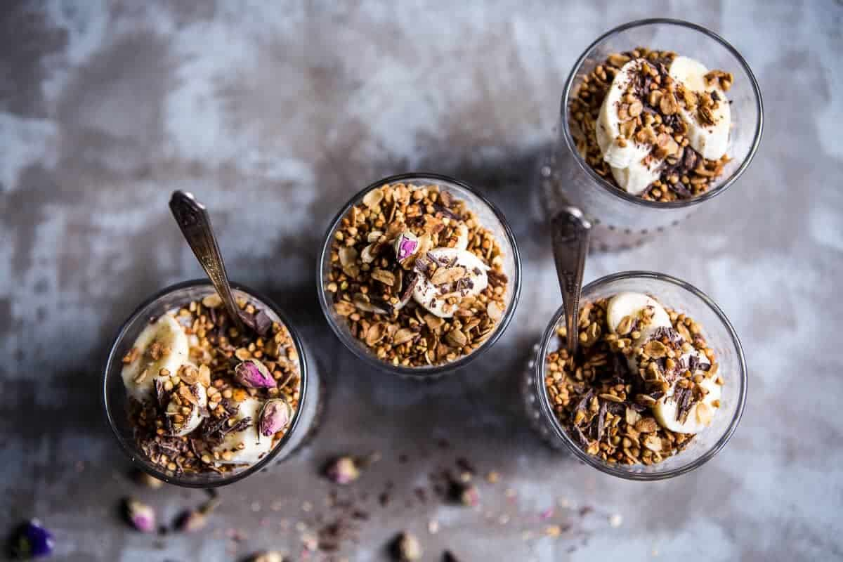 Banana and Chocolate Chia Cream Pie Parfaits | halfbakedharvest.com @hbharvest