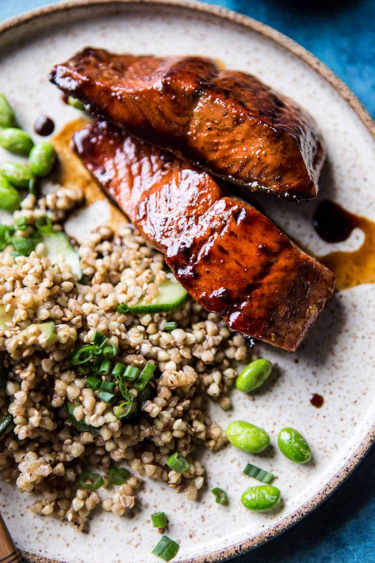 Caramelized Teriyaki Salmon With Sesame Toasted Buckwheat Half