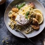 "Creamy Coconut Cashew Spaghetti Squash ""Alfredo"" with Roasted Cauliflower."