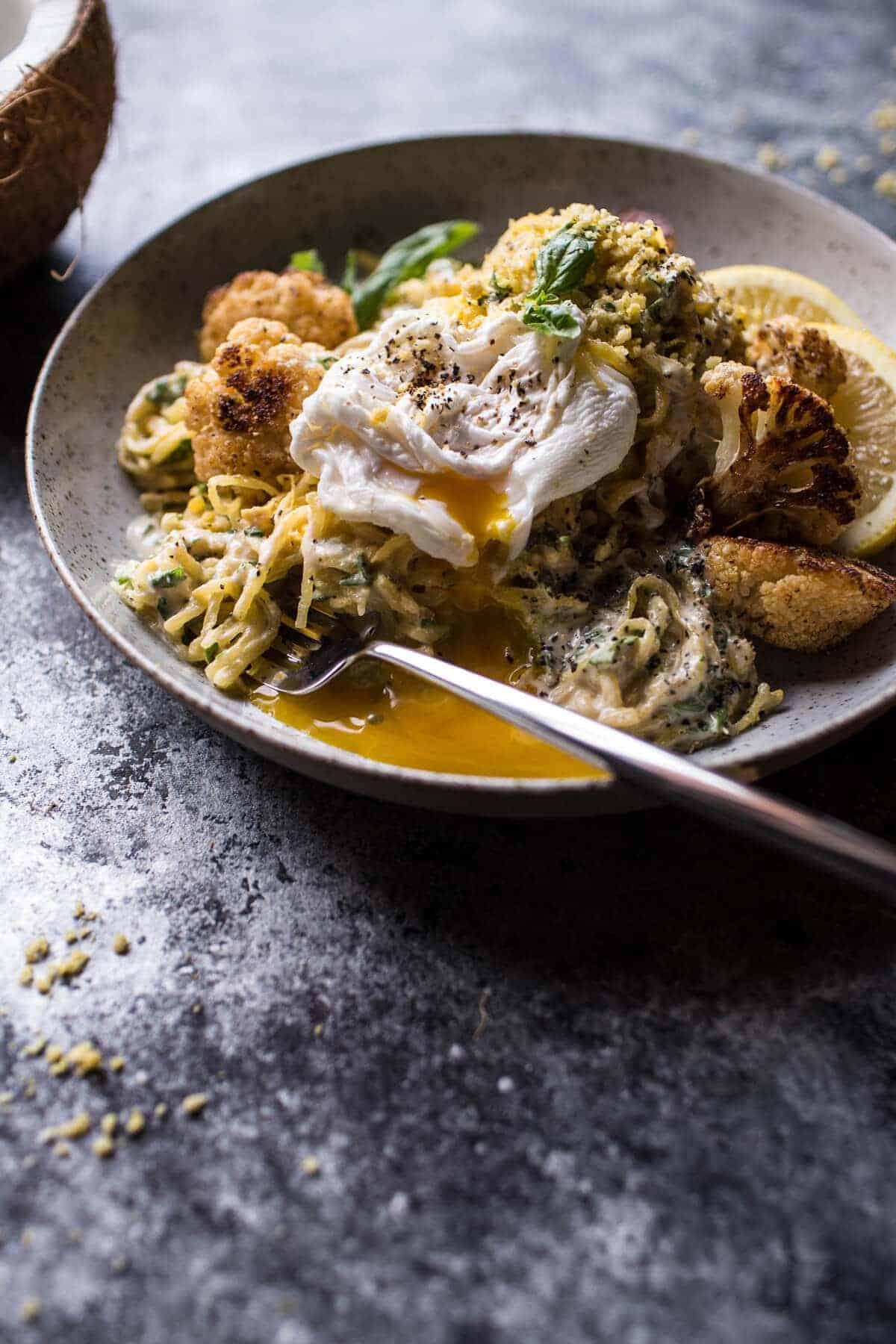 "Creamy Coconut Cashew Spaghetti Squash ""Alfredo"" with Roasted Cauliflower | halfbakedharvest.com @hbharvest"